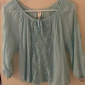 Teal long sleeve with sheer midsection